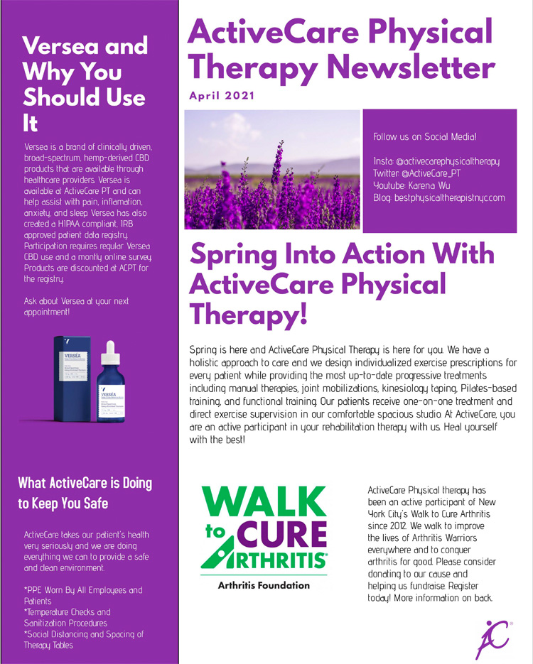 ActiveCare Physical Therapy newsletter | April 2021